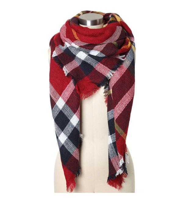 Wonderfit Women Plaid Blanket Scarf Large Tartan Shawl Wrap - Wine Red - C612N0C10TI