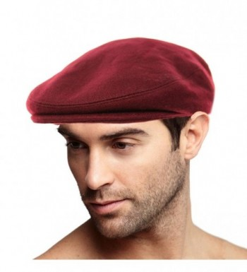 Men's Winter 100% Soft Wool Solid Flat Ivy Driver Golf Cabby Cap Hat - Wine - CL1867LU8K3