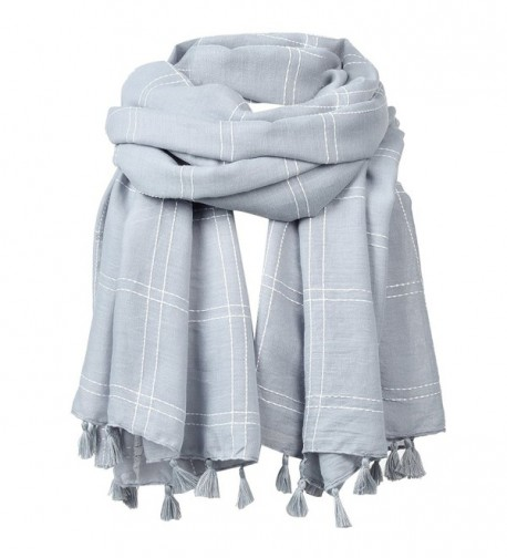 FITIBEST Women Linen Scarf Fashionable Plaid Shawl Winter Long Scarves with Tassels - Grey - CG186HC83S9