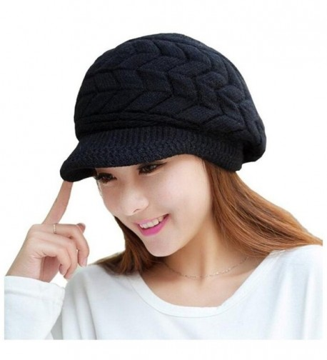 ELINKA Women Winter Warm Knit Hats Caps Wool Snow Ski Cap Beanie Ski Berets Snapback Caps With Visor - Black - CH186OZIOML