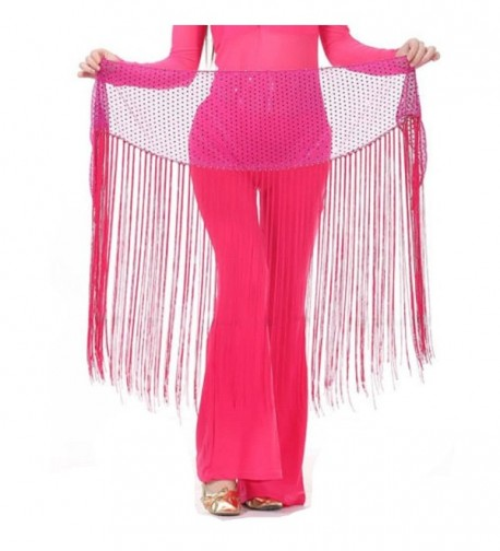 MUNAFIE Belly Dance Hip Scarf Tassel - Rose Red - C8187DDWD25