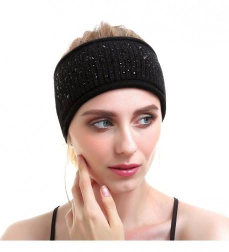Women Knit Headband - Sport Wool Headbands Cashmere Yoga Headwear Head Wrap Ear Warmer - Black - CY187CO4KZC