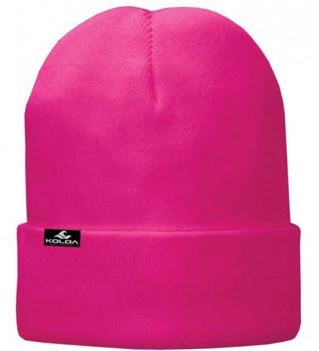 Koloa Surf Soft & Cozy Fleece Lined Fold Beanies in 12 Colors - Neon Pink - CP128VOJRGB