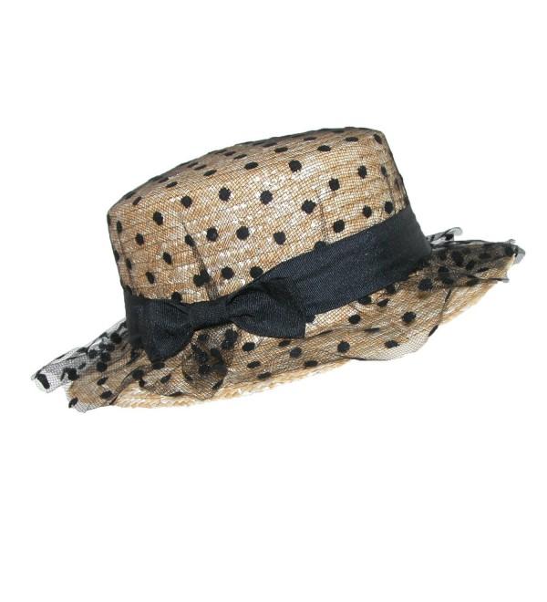 CTM Women's Straw Boater Hat With Polka Dot Tulle - Black - C812E1KBETR