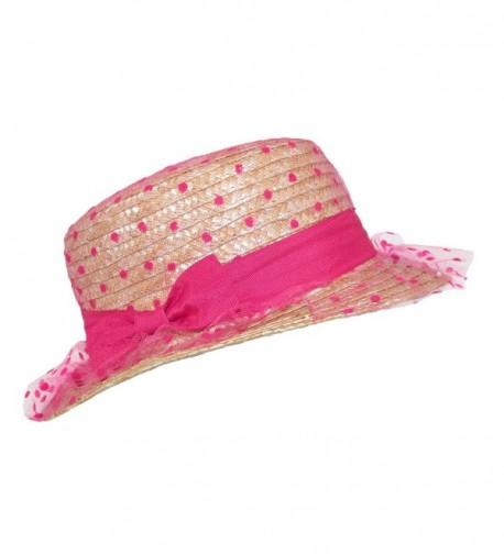 CTM Womens Straw Boater Polka in Women's Sun Hats