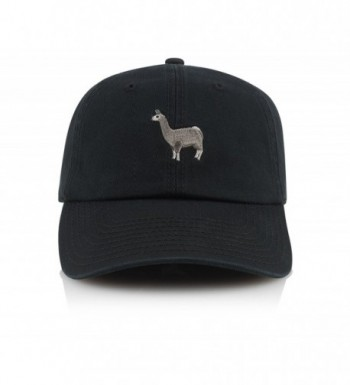 Official Dad Hat Animals Llama Panda Penguin Polo Style Adjustable Strapback Cap - Black - CJ185UULL8E