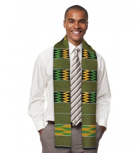 ADVANSYNC Traditional Double Weave Kente Cloth Scarf and Our Daily Bread Book - Green - CR11V5B763J
