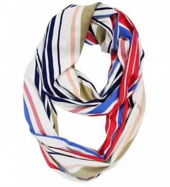 Peach Couture Sassy Stripes Vintage Style Multi Color Light Infinity Loop Scarf - Red Blue White - CA188HGOOK3