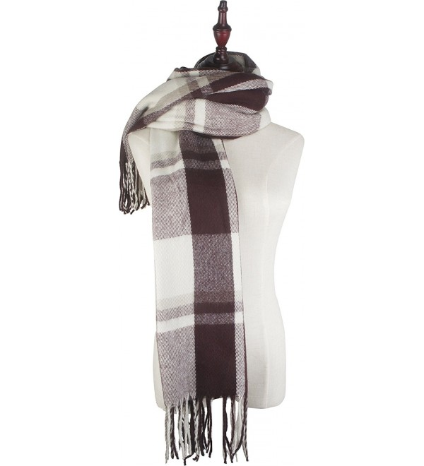 Vivian & Vincent Soft Classic Luxurious Blanket Plaid check Long Scarf - Brown C6 - CP186XOWK5T