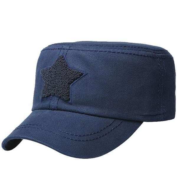 Men Cotton Flat Top Star Peak Baseball Twill Army Millitary Corps Hat Cap Visor - Navy - CT12DSYCQ3Z