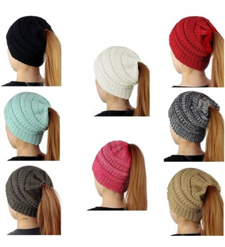 SEALEN Beanie Tail Womens Soft Stretch Trendy Warm Winter Messy High Bun Ponytail Hat - Red - C1187Q9T7GW