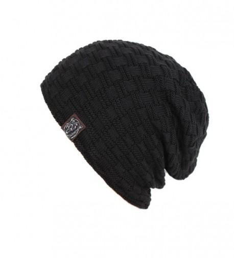 Iuway Stylish Unisex Crochet Slouchy Baggy Crease Winter Knit Beanie Cap Skull Hat - Black - C8186I9HRGQ