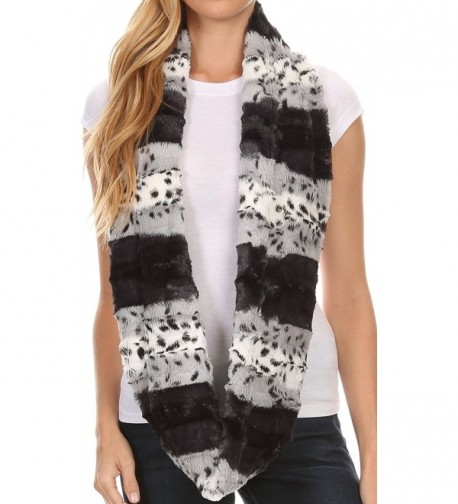 Sakkas Manula Long Wide Infinity Wrap Around Fuzzy Fur Fall Winter Classic Scarf - Grey - CQ12HHVJKRP