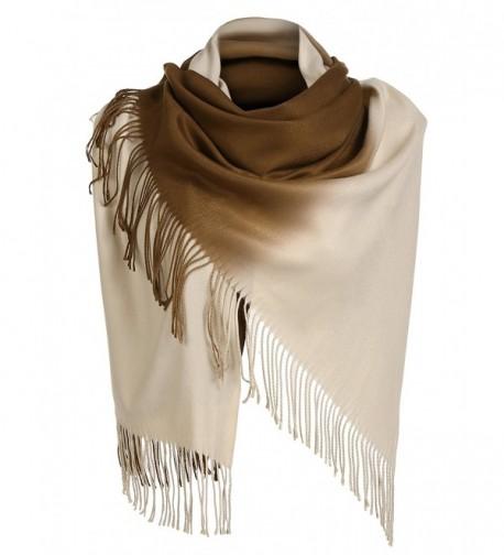 Zeagoo Cashmere Wrap Shawls with Tassel Gradient Color 72 x 203 cm/ 28.3 x 79.9 inch - Dark Brown-beige - CV187MS8ORE