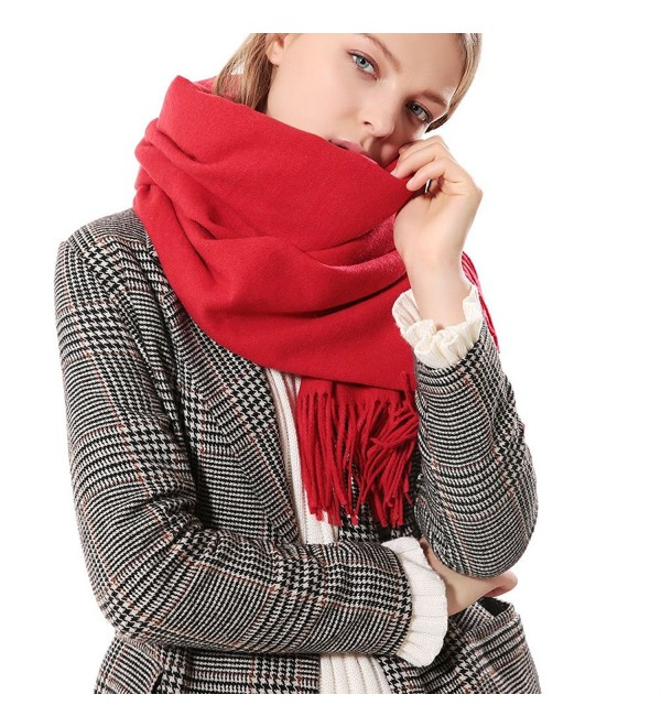 Womens Thick Soft Cashmere Wool Pashmina Shawl Wrap Scarf - Aone Warm Stole(5 Colors) - Red - C2187AK5M07