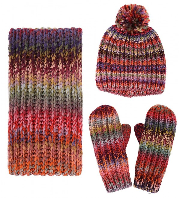 Women's Winter 3PC Cable Knit Beanie Hat Gloves&Scarf Set - Space Dye - CK186HEIN33