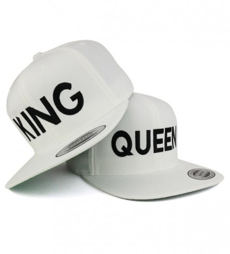 Trendy Apparel Shop King and Queen Embroidered Flat Bill Snapback Off White Cap - 2pc Pack - Black Thread - CT182OMC8H9