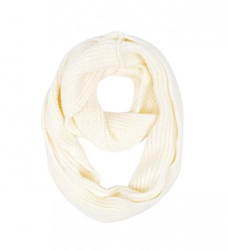 Premium Winter Solid Color Knit Infinity Loop Circle Scarf - Different Colors - Cream - C611PI80BVJ