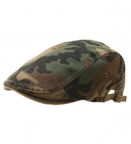 ATOBAO Camouflage Gatsby Driving Flat Cap Military Irish IVY newsboy Hunting Hat - Green - CM12MXRE8DF