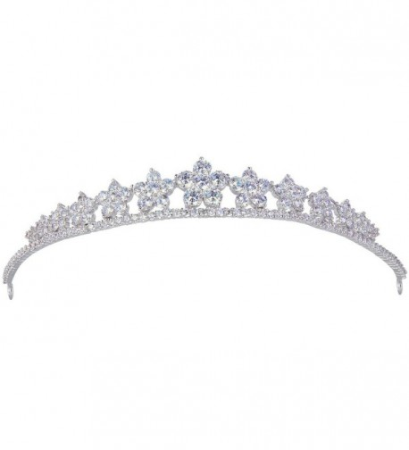 EVER FAITH Silver-Tone Cubic Zirconia Wedding Lots Hibiscus Flowers Head Band Tiara Clear - CD128UPX68B