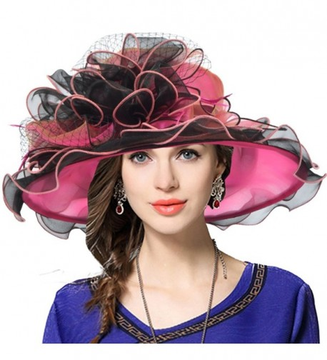 Women's Church Derby Dress Fascinator Bridal Cap British Tea Party Wedding Hat - Two-tone-hot Pink - CO17XHO60Q2