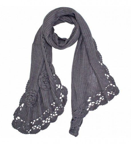 Warm Crochet Knit Winter Scarf With Rosette Trim - Gray - CS11GQUSAKB
