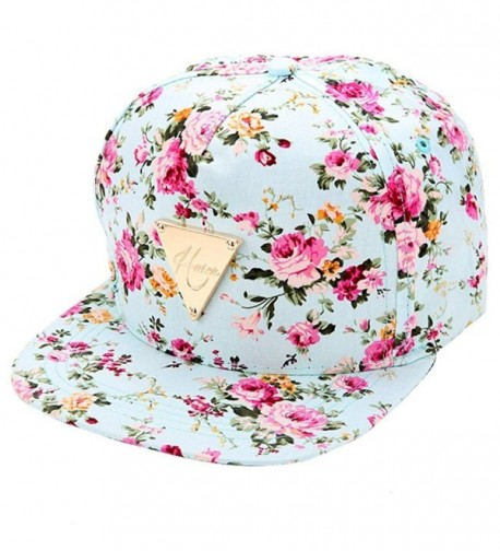 Womens Floral Flower Snapback Hip-Hop Hat Flatbill Fitted Peaked Adjustable Baseball Cap - Blue - CK126LRT6N9