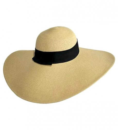 Tan Wide Brimmed Floppy Hat With Black Ribbon Hat Band - C8112X0143T