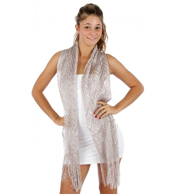 Sheer Gray with Silver Lurex Fringed Evening Wrap Scarf for Prom Wedding Formal - CX114G065ID