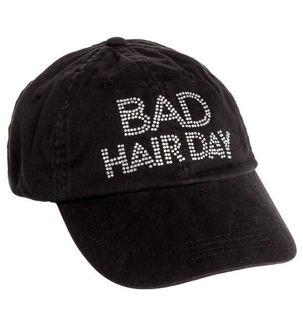 Women's Crystal Adjustable Baseball Cap Rhinestone Bling Hat (Black) - Black W/ Bad Hair Day - C011HT01FB9