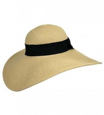 Wide Brimmed Floppy Black Ribbon in Women's Sun Hats