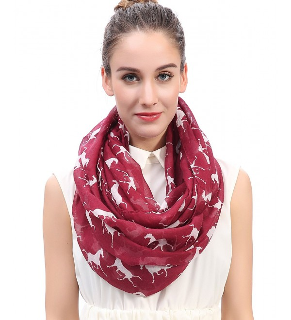 Lina & Lily Running Horses Print Women's Infinity Scarf - Dark Red/White - CT12BMJTC0X