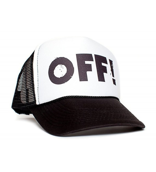 OFF! Unisex-Adult Curved Bill One-Size Truckers Hat - Black/White - CL11O7DVYXZ