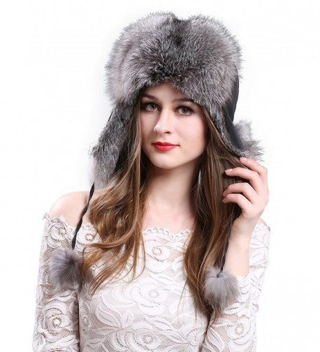 LITHER Women's Winter Trapper Hat Genuine Fox Raccoon Fur Russian Ushanka Hat - Silver Fox - CL12NQYHYA5