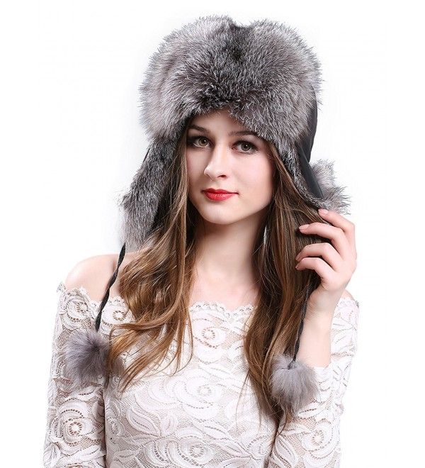adac28b7c Women's Winter Trapper Hat Genuine Fox Raccoon Fur Russian Ushanka Hat  Silver Fox CL12NQYHYA5