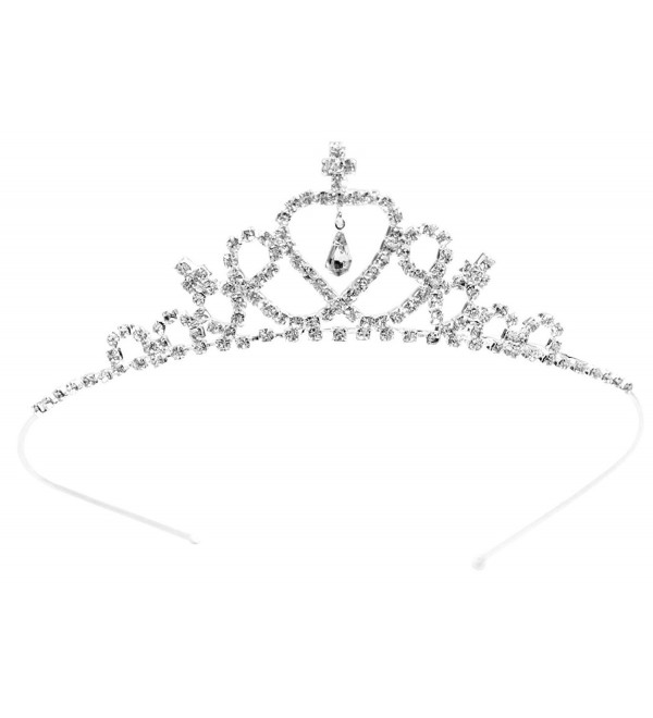Simplicity Girls Dress up Princess Tiara Rhinestone Crown Hair Accessories - Silver - CN11JA8BCQF