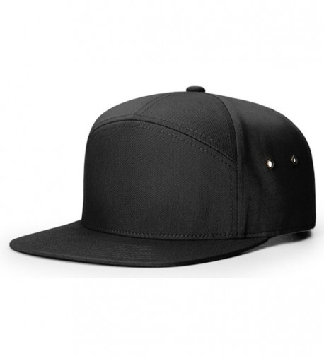 Richardson 7 Panel Cotton Twill Structured Camper Hat Adjustable Leather Strapback - Black - C3188U5WRX2