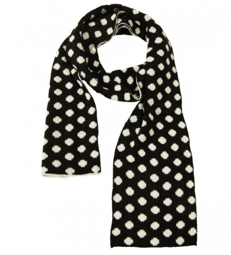 Couver Womens Ladies Dots Long Warm Winter Reversible Scarves - Black / White - CO11TBB91ND