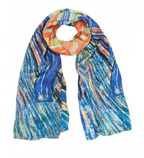 "Dahlia Women's 100% Luxury Long Silk Scarf - Art Collection - ""Munch's """"the Scream"""""" - C01297I25AJ"