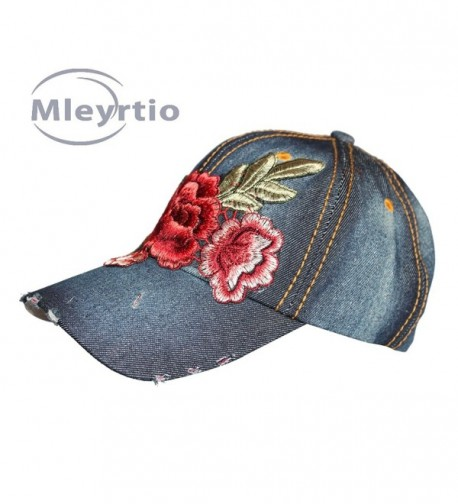 Denim Stone Washed Twill Cotton Baseball Cap Embroidered Rose Flower Structured Hat - Rose B & Navy - CW182MUSEN4