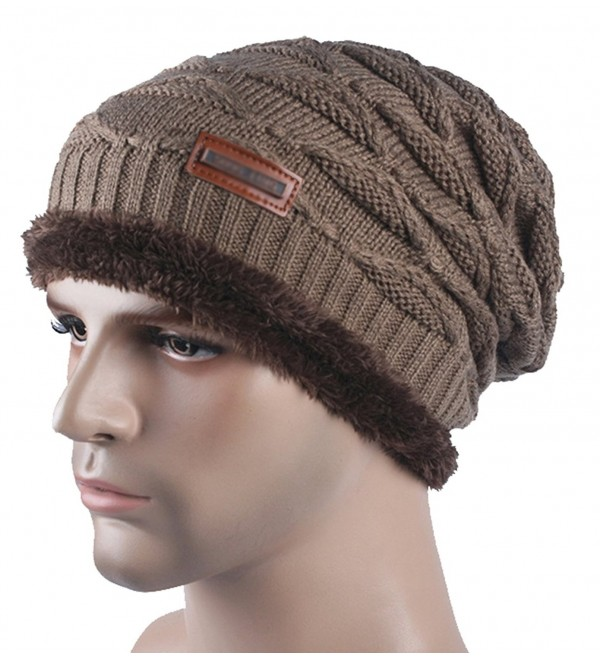 Spikerking New Mens Knitted hats Plush Lining Winter Thick Beanie Hat Skull Cap - Khaki - C6186YHLTC2