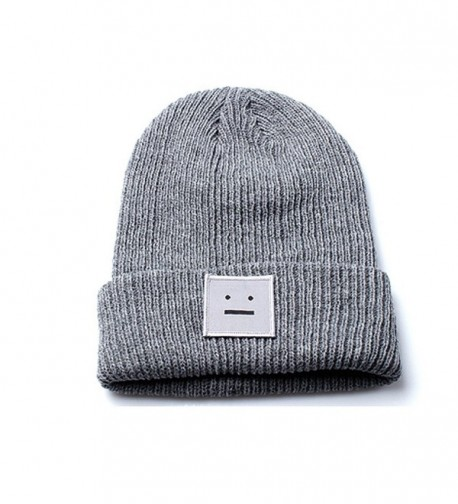 Unisex Grey Beanie Hat with Embroidered Smiley Face Design - CG12O9YL93D