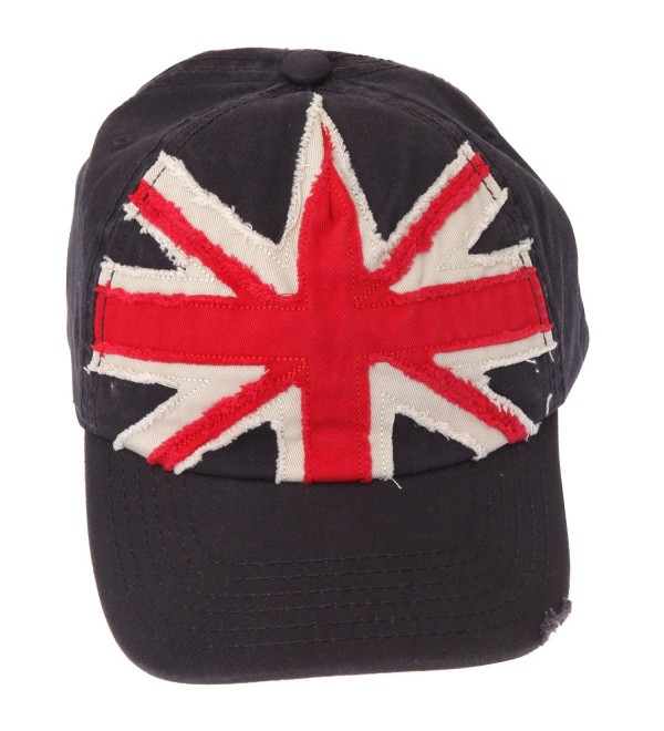 GB Union Jack Distressed Baseball Cap With Adjustable Strap - Navy - CH110SC42TR