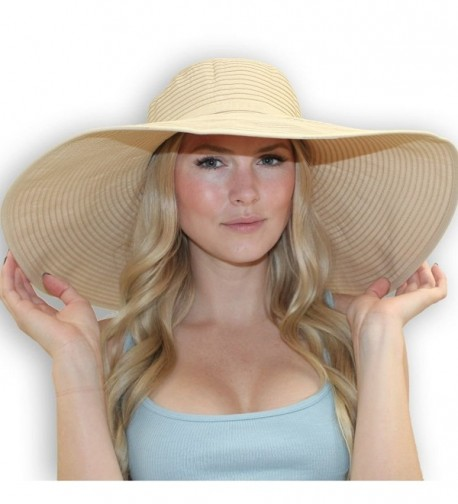 "7"" Crushable Ribbon Braid Sun Hat (Beige) - CJ112BU69BD"