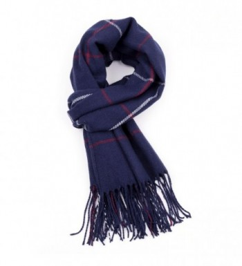 R.C.Y. Cashmere Feel Scarf Plaid Wrap Shawl Blanket - Navy - CT187MGI3X5