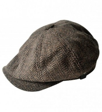 MINAKOLIFE Mens Vintage Style 'Shelby' Cloth Cap Hat Twill Cabbie Hat newsboy - Brown - CD12DNKWT2R