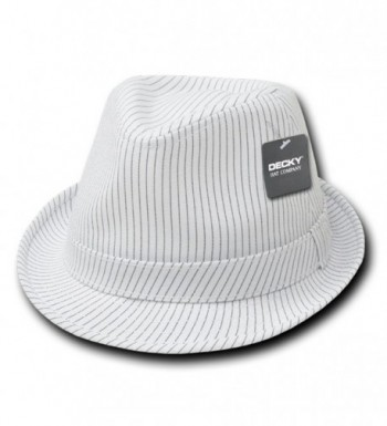 Classic Poly Woven Pinstripe Fedora Hat with Hat Bands - White/White - CP12NSB9BAX