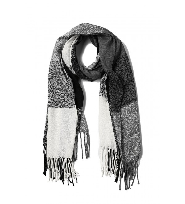 Women's Winter Scarf Tassel Plaid Scarf Warm Soft Large Blanket Wrap Shawl Scarves - A-black - CH1888OILH3