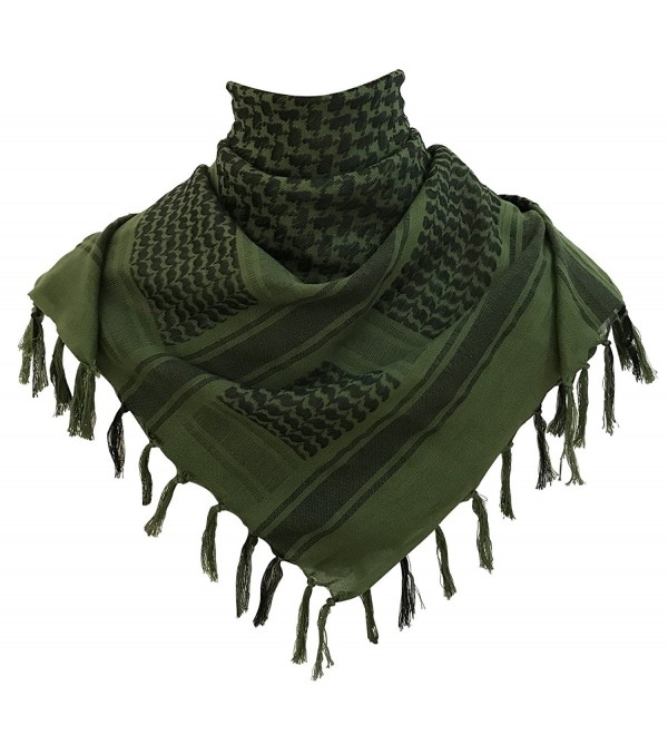 G.S YOZOH Premium Military Shemagh Tactical Desert Keffiyeh 100% Cotton Head Neck Scarf Wrap - Olive Drab - CT188MZIS0Z