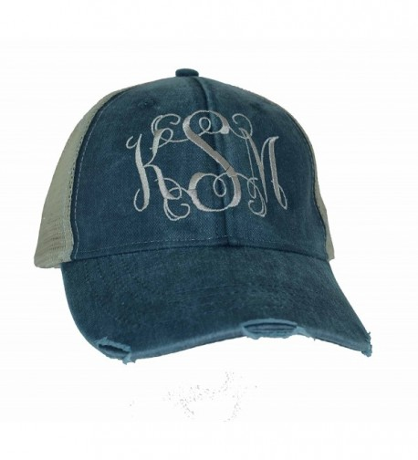 Mary's Monograms Monogrammed Distressed Trucker Hat Navy Blue - CN12MAV8E0L